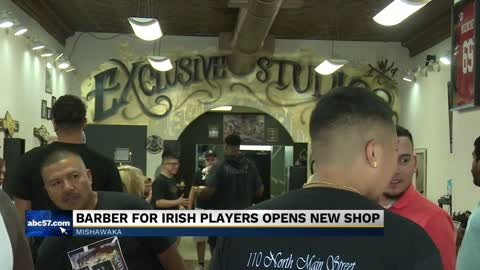 Notre Dame Athletics barber has grand opening of his shop Saturday